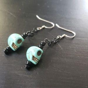 ☀️SKULL GOTHIC Turqoise & black drop earrings